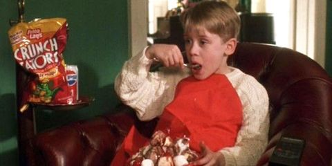Home Alone Kevin eating ice cream and crisps