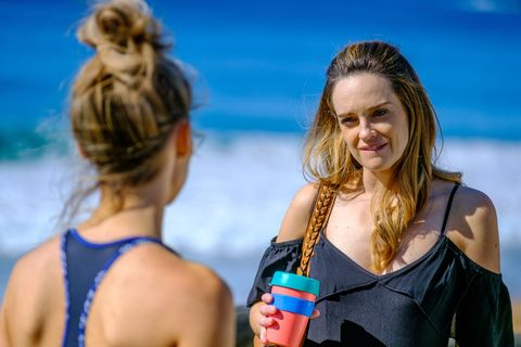 Jasmine Delaney has a tense encounter with Tori Morgan in Home and Away