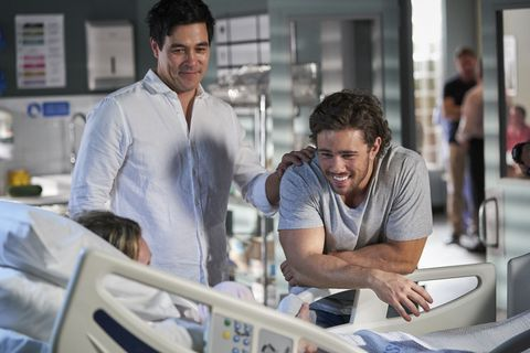 Justin and Mason Morgan with Tori in Home and Away