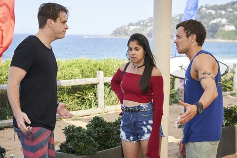 Colby Thorne, Willow Harris and Dean Thompson worry about Bella after she goes missing in Home and Away