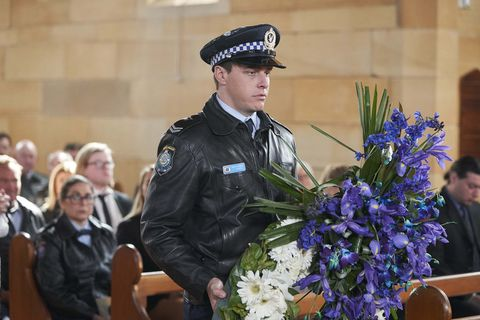 Colby Thorne at Robbo Shaw's funeral in Home and Away
