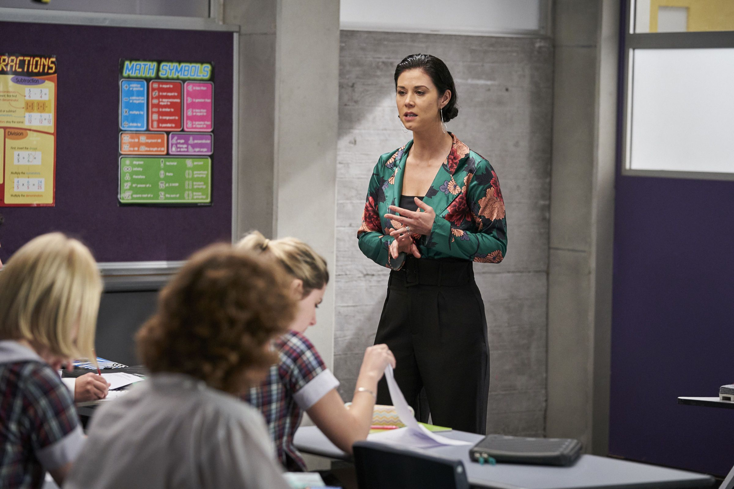 Maggie Astoni teaches a class in Home and Away