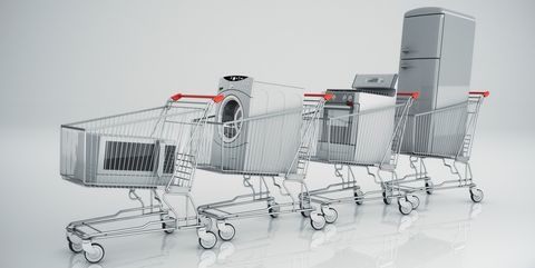 Home appliances in the shopping cart
