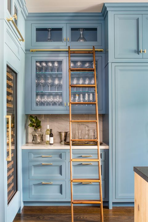 library ladder in home bar