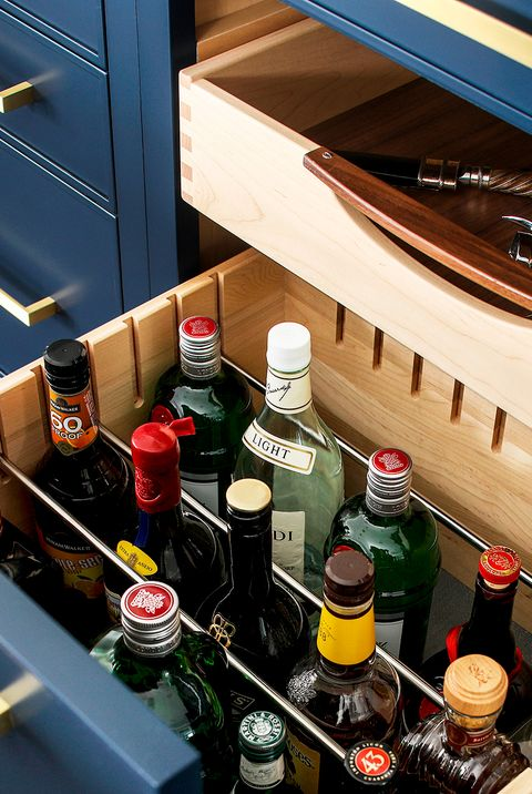 wine and booze stored in drawer