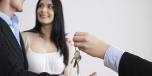 home buyers getting house keys