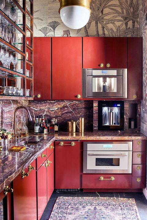 Countertop, Cabinetry, Room, Kitchen, Red, Furniture, Interior design, Property, Building, Tile,