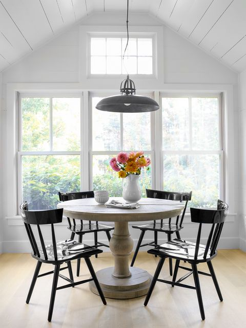 breakfast table with black chairs
