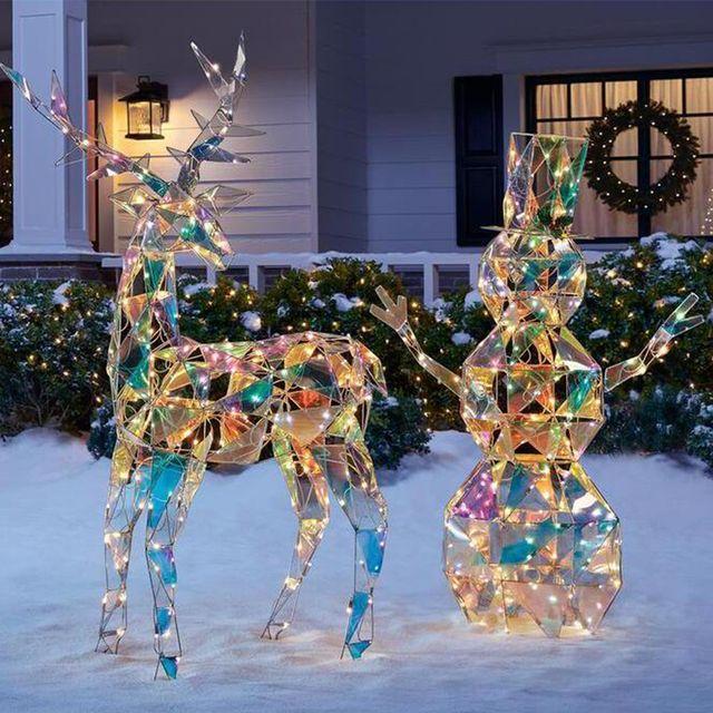 iridescent reindeer and snowman