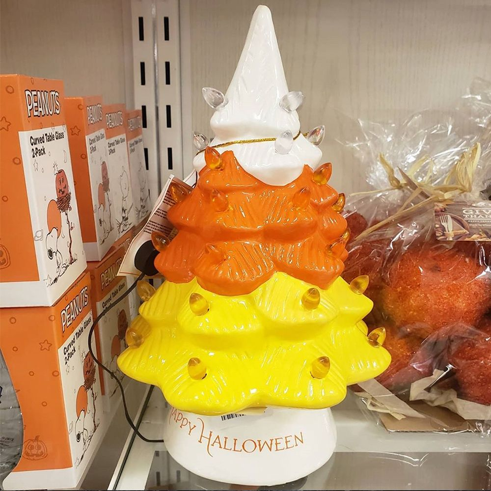 Halloween 2020 Candy Corn Tree HomeGoods Is Selling a Candy Corn Ceramic Tree for Halloween