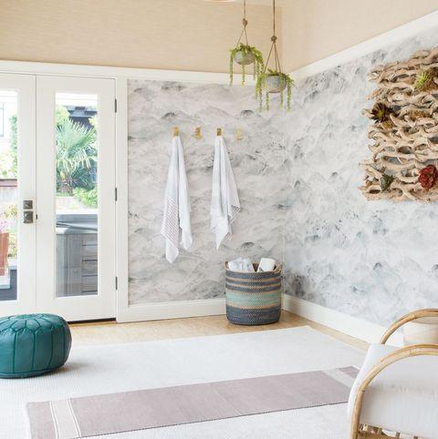 contemporary home yoga room