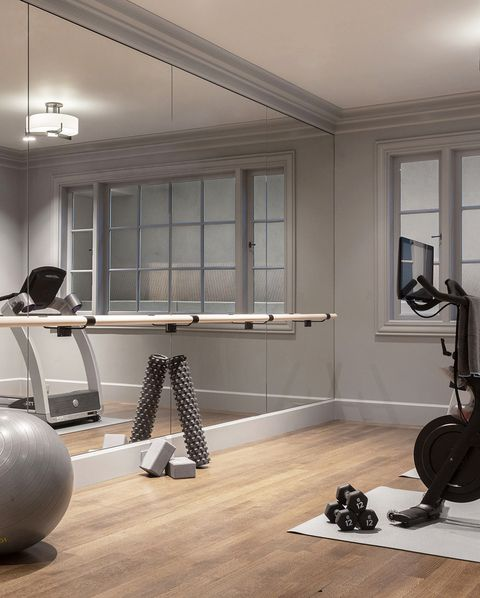 modern gray home gym