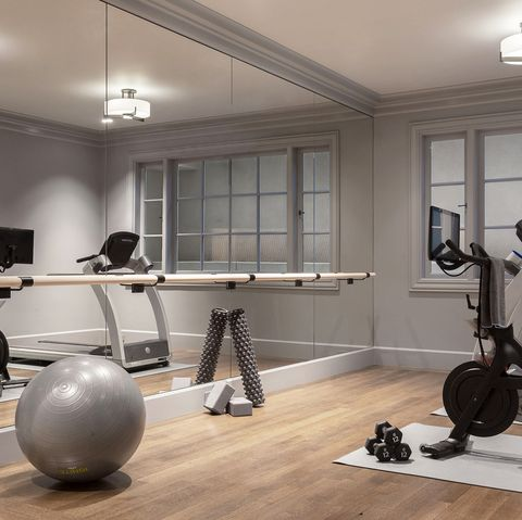 modern gray home gym