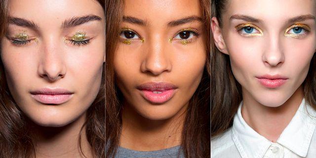 cómo maquillar los ojos con sombra dorada