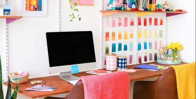 32 Best Home Office Ideas How To, Colored Desk Accessories