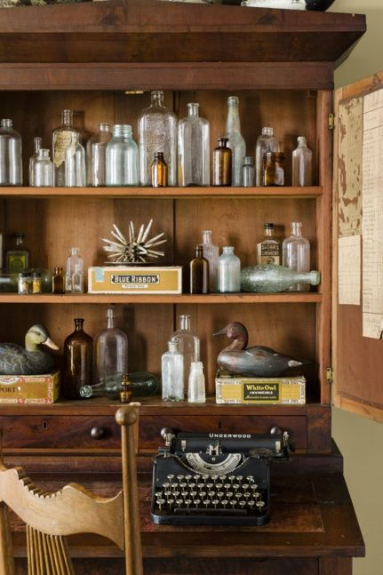 home office ideas antique bottles