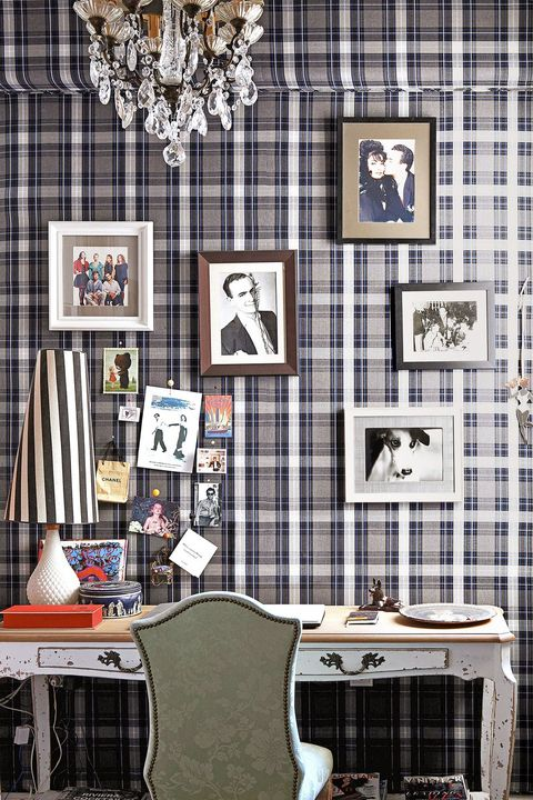 Home Office Ideas - Plaid Wall