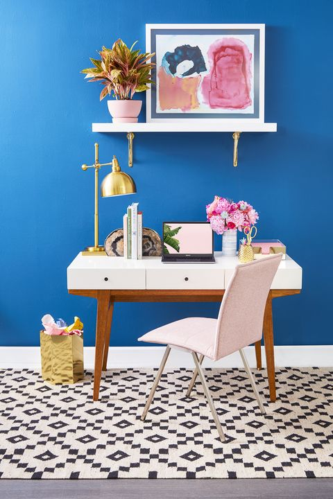 Home Office Ideas- Blue Wall