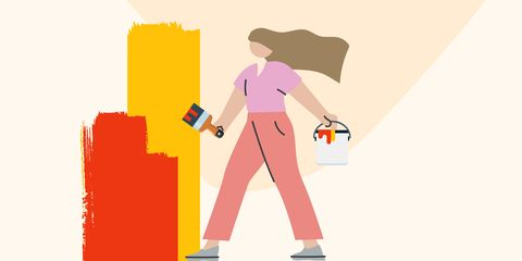 graphic of woman with paint bucket and brush