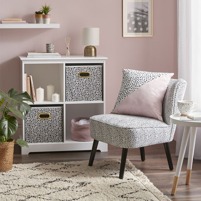 homebase occasional chair   dalmatian print