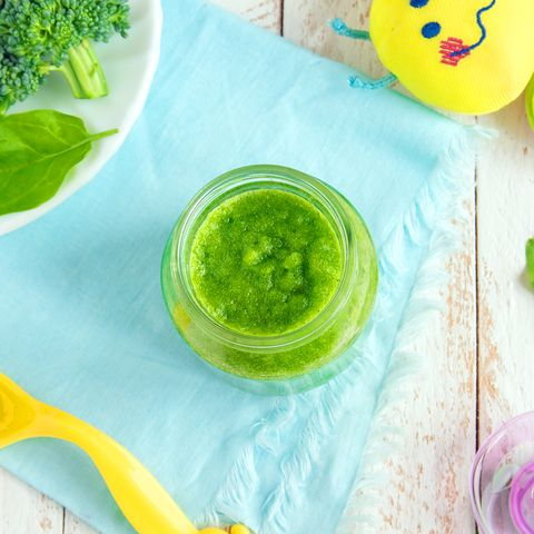 baby food organic green broccoli and spinach puree with ingredients