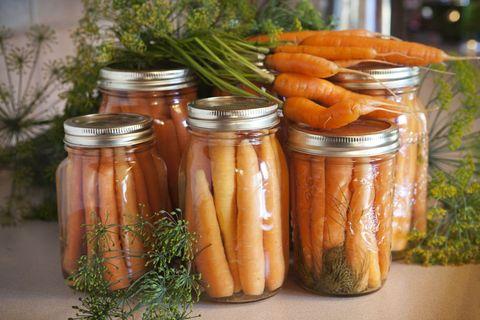 Mason jar, Preserved food, Canning, Food, Pickling, Vegetable, Cucumis, Carrot, Cuisine, Ingredient,
