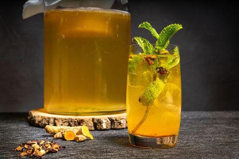 Homemade fermented compote tea