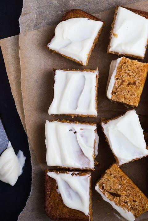 Homemade pumpkin sheet cake with cream cheese icing