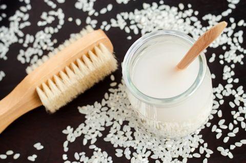 Homemade rice water - natural toner for skin and hair care. DIY cosmetics.