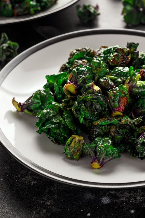 homemade roasted green kalettes on plate healthy food