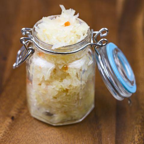 Homemade sauerkraut in a jar