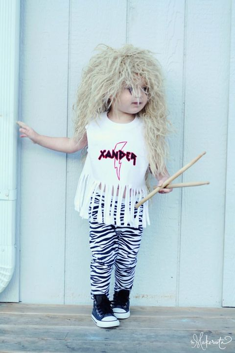 homemade toddler halloween costume 80s rock band