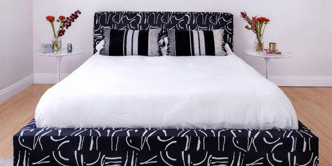 Bedroom, Bed, Furniture, White, Room, Bed frame, Bed sheet, Bedding, Interior design, Wall,