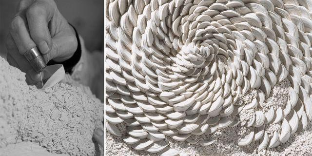 artesanos que hacen esculturas con tela