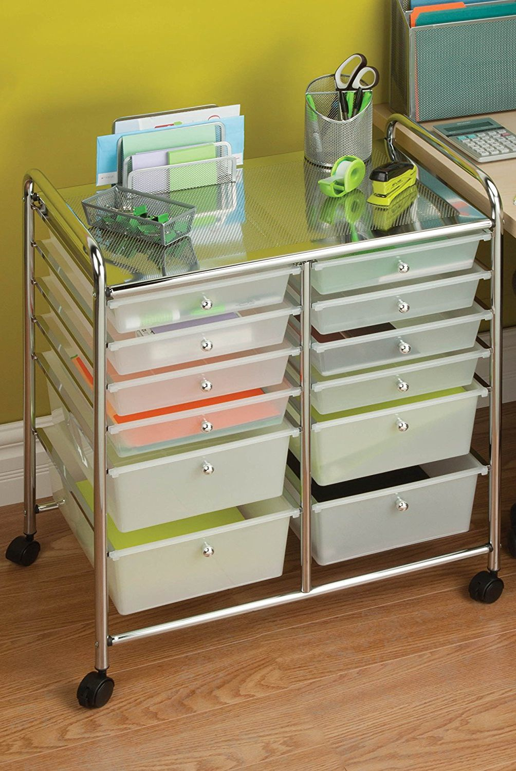 honey-can-do 12 drawer chrome studio organizer cart