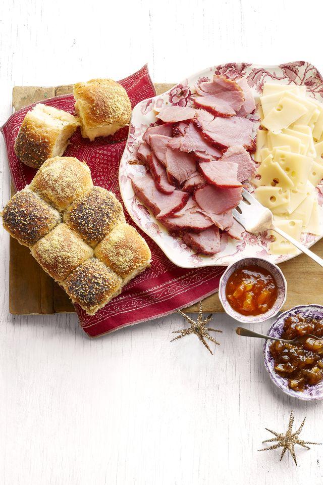 honey glazed ham checkerboard rolls