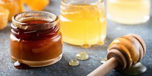 Honey In Jar With Wooden Honey Dipper, Liquid Honey