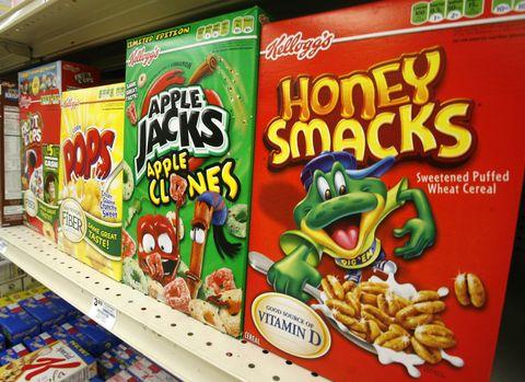 Honey Smacks and Apple Jacks cereal on a shelf