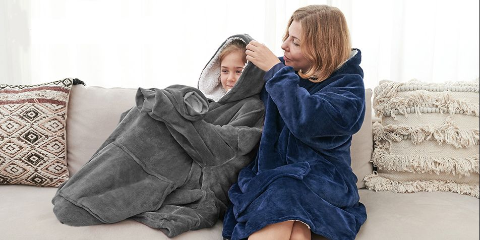 Shoppers are loving this hoodie blanket on Amazon