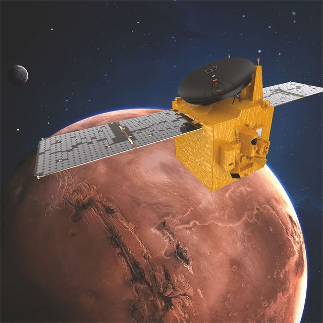 an illustration of the uae's hope probe in orbit around mars