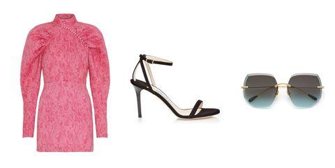 Pink, Eyewear, Footwear, Fashion, Dress, Glasses, High heels, Magenta, Outerwear, Shoe,