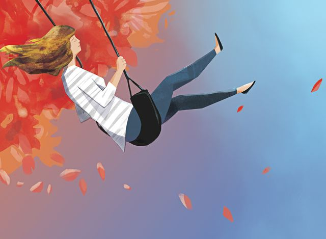 illustration, woman riding swing in fall or autumn outdoor setting, hrt, hormone replacement therapy