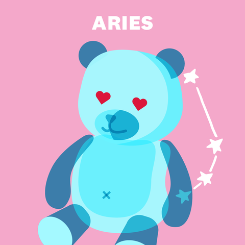 "teddy bear drawing with ""aries"" above"