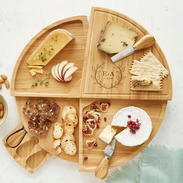 hostess gifts, bud vase and swivel cheeseboard