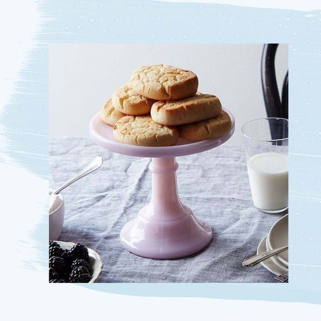 pink cake stand and zip code serving tray