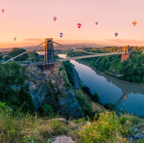 Hot Air Balloons over Clifton Suspension Bridge at Sunrise