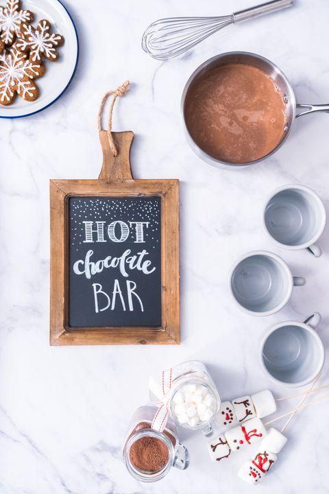 hot chocolate bar christmas party ideas