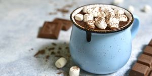 Homemade hot chocolate with mini marshmallow