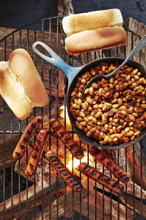 hot dogs with quick cast iron beans