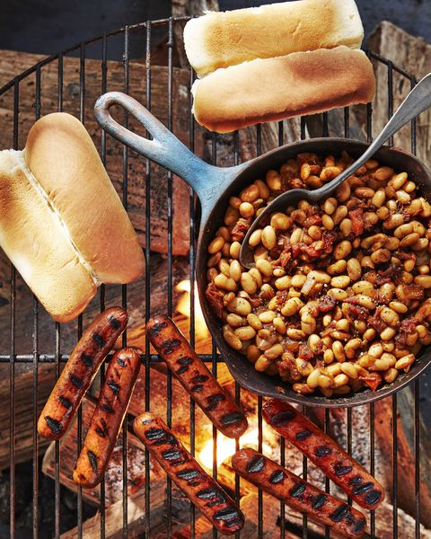 make ahead camping meals Hot Dogs With Quick Cast-Iron Beans